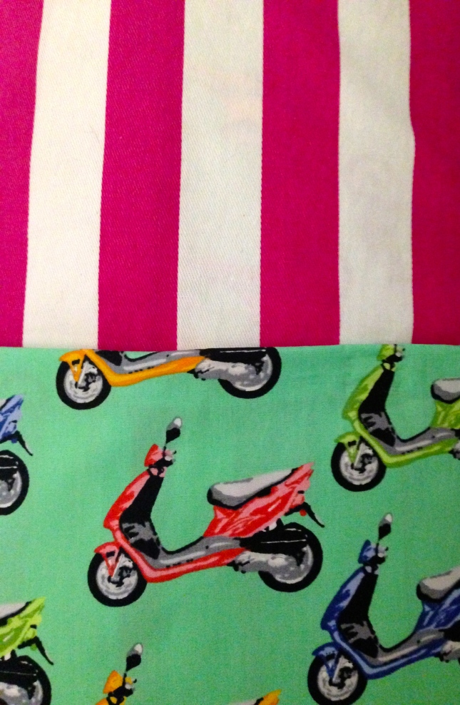 Mint & Hot Pink with Vespas.  This cushion cover is screaming summer!  $12.00